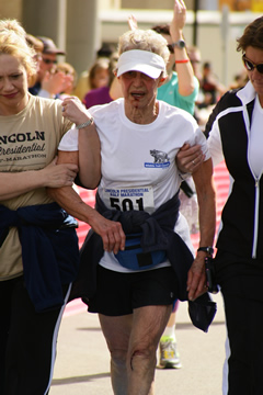 Barbara Gurtler needed a little help from her friends but the 77-year-old was determined to finish the Lincoln Half Marathon in Springfield April 7.