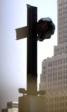 Cross erected at Ground Zero from steel beams of the World Trade Center