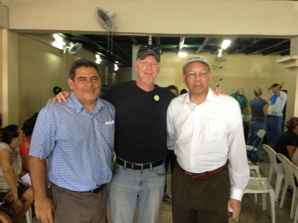 Superintendent Juan Guerrero, Shane Bishop and Bishop Jonathan Keaton taken at Christ Church in San Pedro Sula.