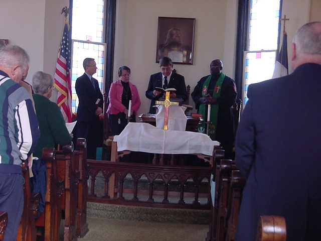 Rev. Randy Robinson, Rev. Nancy Wood, Rev. Phil Icenogle, Bishop Gregory V. Palmer