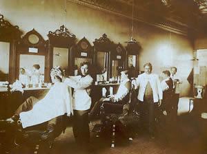 Inside the Ellis barbershop circa 1930