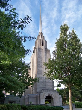 The spire at Wesley United Methodist Church