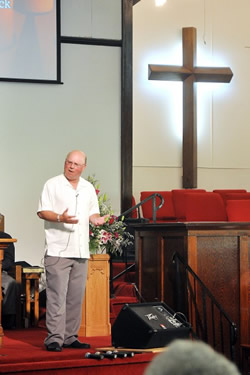 Former SIU-C and current NIU football coach Jerry Kill speaks at Carrier Mills UMC