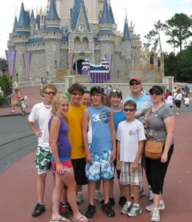Beardstown UMC youth in front of Disney's Magic Kingdom