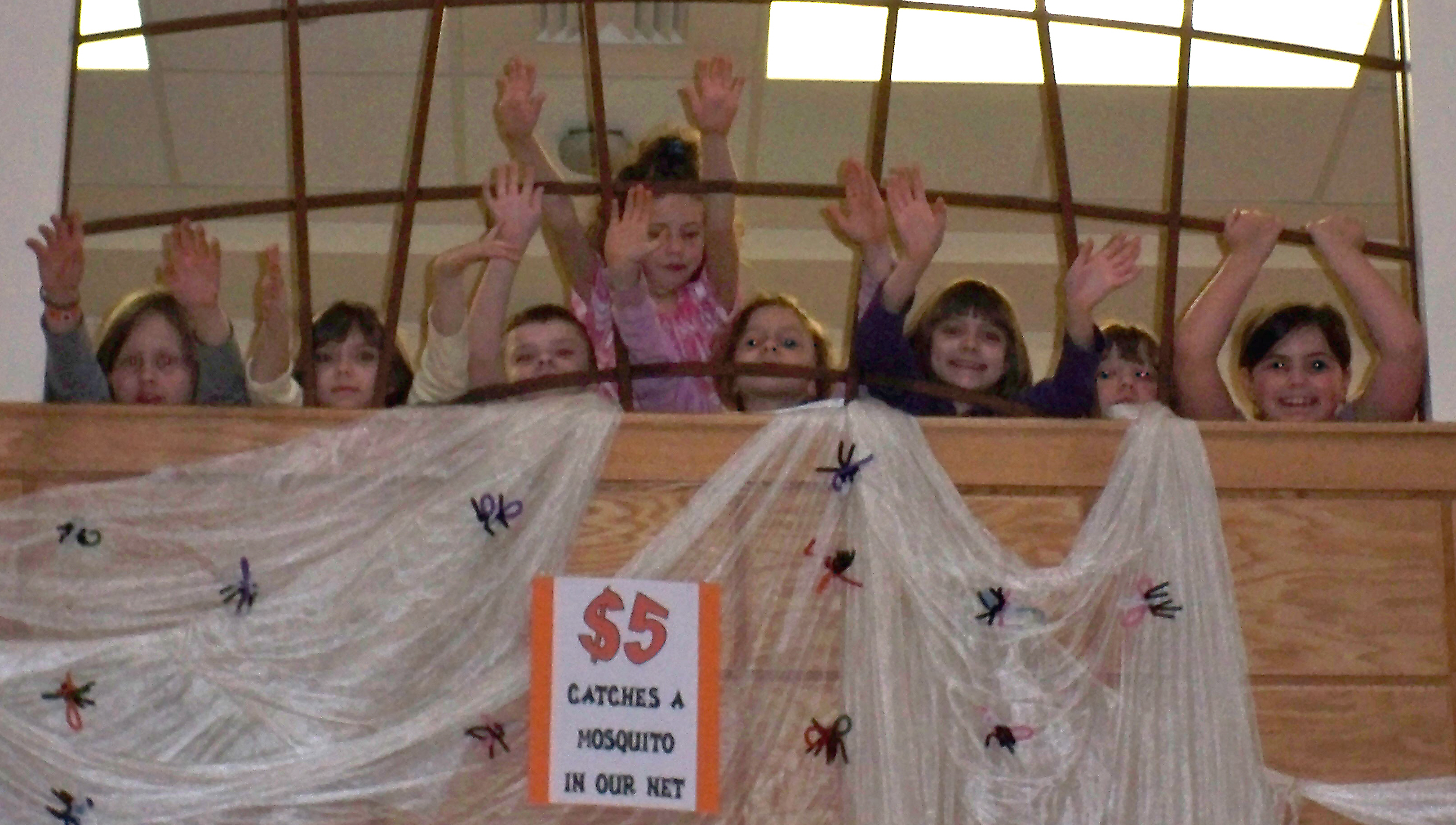 "Children at Carbondale First UMC with the mosquito net and their ""catch"""