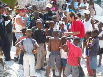 Doug Berkman and members of the New Horizon UMC mission team with the Haitian children