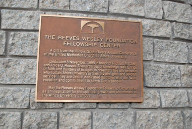 Richard Reeves plaque at Wesley Foundation - Africa University
