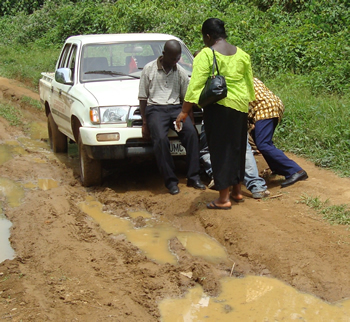 Truck in Liberia stuck in the mud