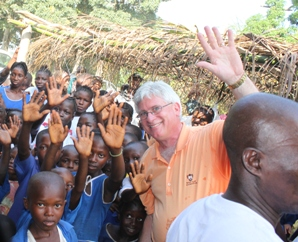 Pete Paulson with the children of Sierra Leone