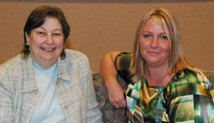 Linda Smith, administrative assistant to Bishop Palmer and Michelle Hammitt, the new administrative assistant