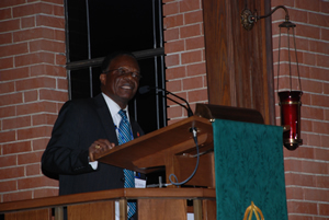 Liberian Bishop John G. Innis preaches at Friday evening worship